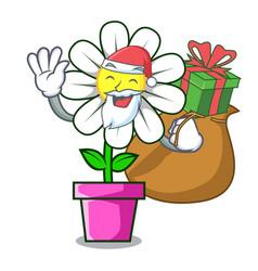 Santa with gift daisy flower mascot cartoon vector