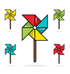 Set of colorful toy pinwheels line flat vector