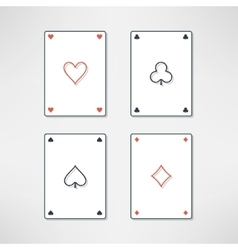 Set of playing cards ace icons in clean and vector