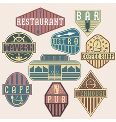 set of vintage labels with places of food and vector image