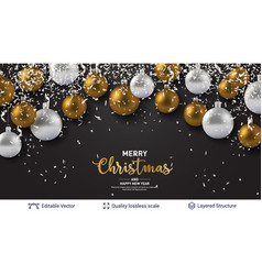 Shiny christmas balls and text on dark banner vector