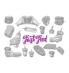 Sketch fast food elements set vector