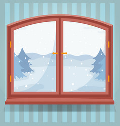 snow winter outdoor view in wooden window winter vector image