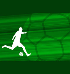 Soccer player silhouette on the abstract vector