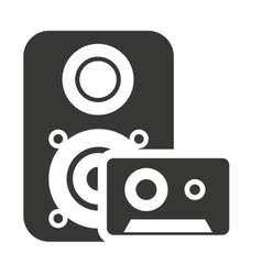 speaker silhouette with audio icon vector image