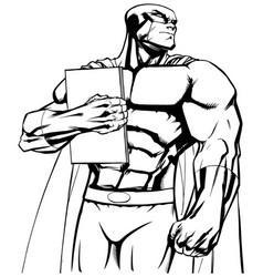 superhero holding book line art vector image