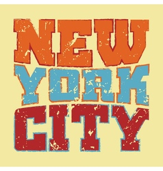 T shirt typography New York red blue yellow vector