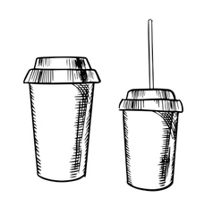 Takeaway coffee and soda drinks sketches vector