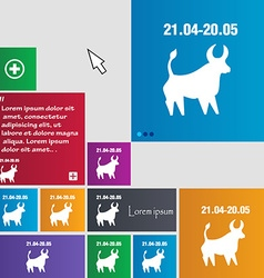 Taurus icon sign buttons Modern interface website vector image