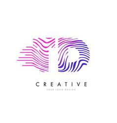 Td t d zebra lines letter logo design with vector