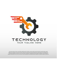 Technology logo with gear and wrench concept vector