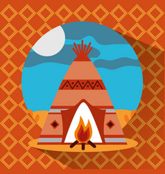 Teepee native american with bonfire landscape vector