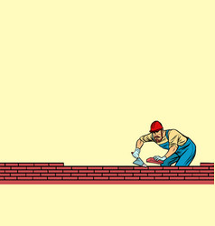The builder lays brick masonry below vector