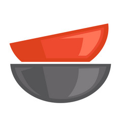 two red and grey bowls on white poster vector image