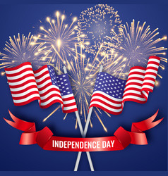 Usa independence day banner with two crossing vector