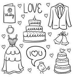 wedding drawn in doodled style vector image