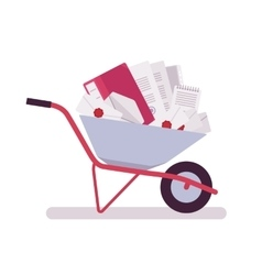 Wheelbarrow full of papers folders letters vector image