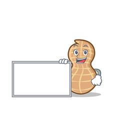 With board peanut character cartoon style vector