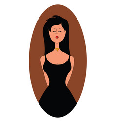 woman in black dress on white background vector image
