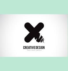 X letter logo design brush paint stroke artistic vector