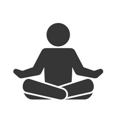 Yoga fitness icon lotus position on white vector