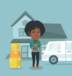 Young african-american woman moving to a new house vector