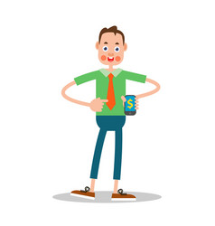 young guy with mobile phone vector image