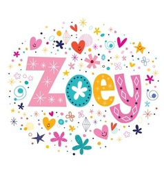 Zoey female name decorative lettering type design vector image