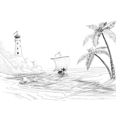 Beach sea and boat sketch vector image vector image