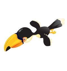 Cartoon hornbill flying vector image vector image