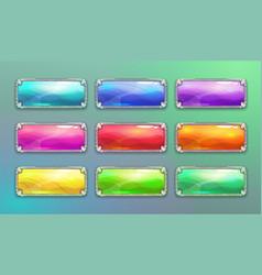 cartoon long horizontal crystal buttons vector image