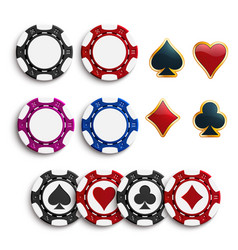 casino poker gambling chips icons vector image