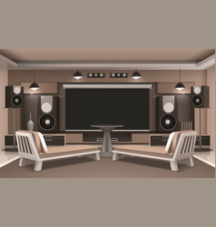 home cinema interior with round table vector image