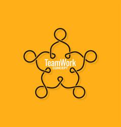 teamwork logo business line concept on yellow vector image