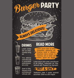 burger poster for fast food restaurant template vector image