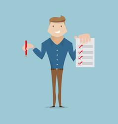businessman with checklist cartoon vector image vector image