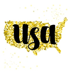 Golden glitter map of United States of America vector image