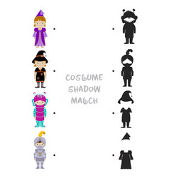 Halloween shadow matching game for kids vector