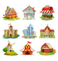houses and castles buildings 3d icons set vector image