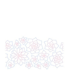 Line art succulent plant seamless border vector image vector image