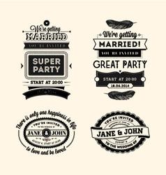 Retro wedding stamps vector image vector image