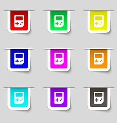 Tetris icon sign Set of multicolored modern labels vector image