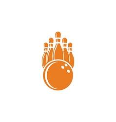 Bowling logo mockup bowling ball and pins sport vector image