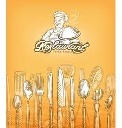 restaurant or cooking cutlery sketch vector image