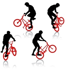 Set silhouette of a cyclist male performing vector