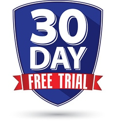 30 day free trial flat design label with red vector image