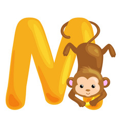 animals alphabet for kids fish letter m cartoon vector image vector image