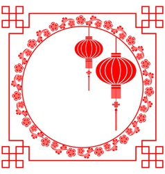 Chinese Paper Cutting Motif Chinese Lantern vector image vector image