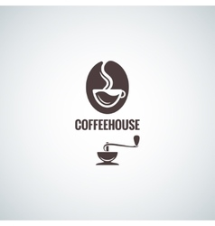 coffee bean with cup logo design background vector image