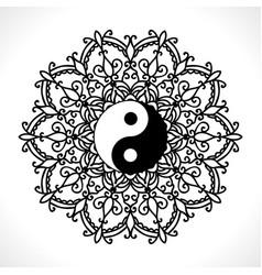 flower mandala for coloring book vector image